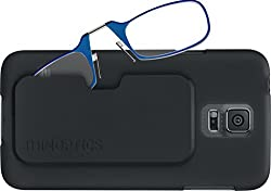 ThinOPTICS Reading Glasses on your Phone, Samsung Galaxy S5 Black Case, +2.50 Blue Glasses