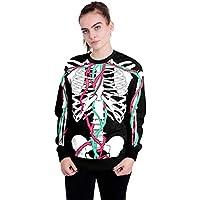 Damen Bluse Mumuj Fashion Mädchen Halloween Schädel 3D Druck Langarmshirts Frauen Sport Fitness Hoodie Sweatshirt Pullover Festlicher Herbst Winter Pulli
