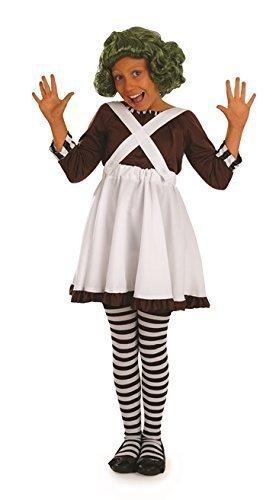 Oompa Loompa Fabrikarbeiter Kinder Mädchen Kostüm Kostüm - L- (Für Kinder Oompa Kostüme Loompa)