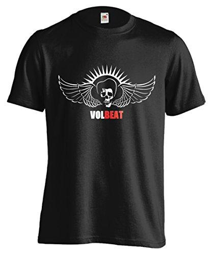 T-shirt Uomo - Volbeat maglietta con stampa 50's punk rock 100% cotonee LaMAGLIERIA,XL, Nero