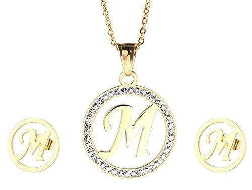 Epinki Damen Schmuck-Sets, Gold Edelstahl Damen Halskette Statementkette Kette mit Zirkonia & Ohrringe Damenohrringe Buchstaben