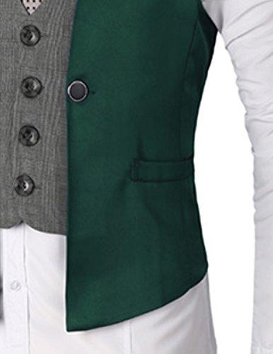 Boom Fashion Slim fit plaid Gilet Veston Veste Costume Sans Manches Homme Branché(chemise Non inclus) Vert