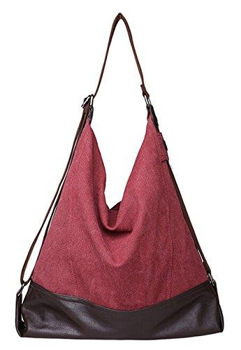 DATO Damen Freizeittasche Große Schultertasche Vintage Umhängetasche Canvas Shopper Handtasche Tragetasche Tote Multifunktion mit Schulterträger Messenger Bag Rotwein