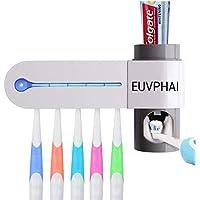 EUVPHAI Portacepillos de Dientes UV Esterilizador de Cepillo de Dientes, Soporte de Pared con Accesorios