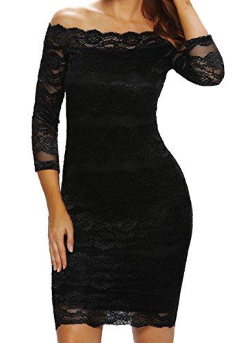 Manches 3/4 HO-Ersoka Case Robe bustier classique Midi de dentelle noire Noir