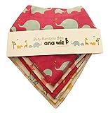 Lot de 5bavoirs style bandana pour bébé 100% coton bio 5designs uniques