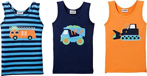 Kinderbutt Unterhemd 3er-Pack marine/orange Größe 86/92