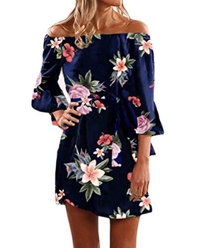 Yoins donna vestito senza spalle a maniche lunghe con spalline elegante abito da spiaggia corto abiti donna estivi eleganti floreale sexy