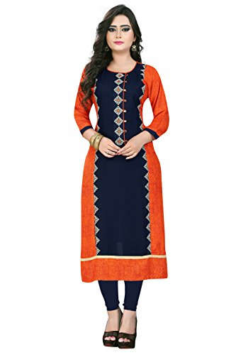 Kurtis for women (Latest Low price Designer Party wear Orange & Rayon...