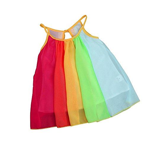 VJGOAL Mädchen Kleider, Kinder Baby Süß Prinzessin Kleidung Ärmellos Chiffon Tutu Rainbow Dresses for Girls(Mehrfarbig,90) -