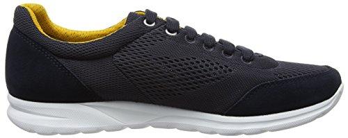 Geox Herrenschuhe U720HB Damian Sportlicher Herren Sneaker, Schnürhalbschuh, Freizeitschuh, atmungsaktiv, weiße Sohle Blau (Navyc4002)