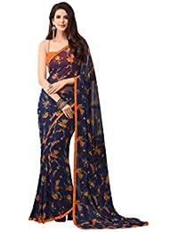 Takshaya Partywear Navy Blue Floral Printed Georgette Saree