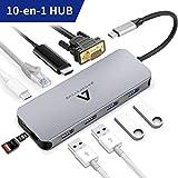 Anoopsyche Hub USB C 10-en-1, Aluminium, Adaptateur USB C Hub vers HDMI 4K, VGA, PD 100W, 2 USB 3.0, 2 USB 2.0, Lecteur de Carte SD/TF, RJ45, Dock USB C pour MacBook Pro et MacBook Air 2018