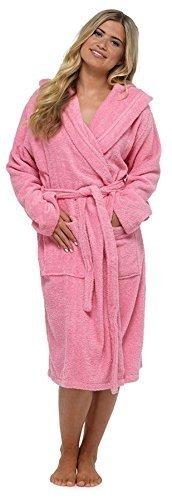 De Luxe Pour Femmes 100% Éponge Coton Peignoir Robe De Chambre Enveloppant Pyjama - Rose - à capuche, Medium
