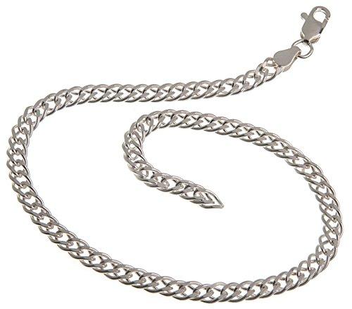 Fußkette Silber (Zwillingspanzer) - Breite 4,5mm - Länge 30cm - echt 925 Silber