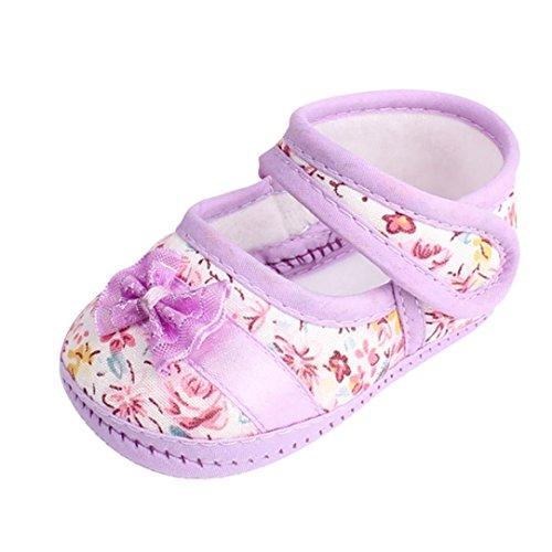 FNKDOR Baby Mädchen Weiche Sohle Bowknot Rutschfest Freizeitschuhe(06-12 Monate,Violett)