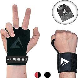 Aireez 2 in 1 Crossfit - Fitness Handschuhe & Handgelenk Bandagen Set für Damen & Herren (Medium/Schwarz) rutschfest & Atmungsaktiv für Calisthenics Training