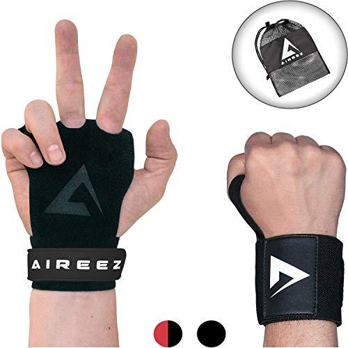 Aireez 2 in 1 Crossfit - Fitness Handschuhe & Handgelenk Bandagen Set für Damen & Herren (Medium/Schwarz) Fester Griff & Handgelenkschutz für Calisthenics Training -