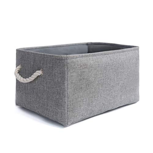 Mangata Faltbare Verdickte Leinwand Aufbewahrungsbox mit Griffen für Schrank, Garderobe (Medium, Grau) (Schrank Veranstalter Grau)