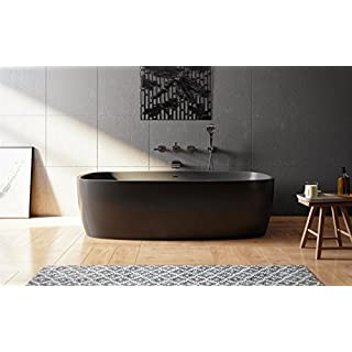 Aquatica Coletta Graphite Black Freestanding Solid Surface Bathtub
