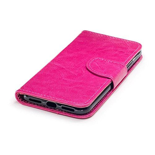 Cover iphone x, Alfort 2 in 1 Custodia Alta qualità Cuoio Flip Stand Case per la Custodia iphone x Ci sono Funzioni di Supporto e Portafoglio ( Blu ) 5,8 pollici Rose Red