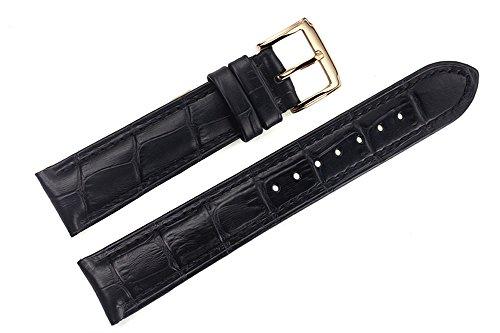 18mm schwarz High-End-italienischen Lederarmbändern / Bands Austausch mit goldenen Stift Schnalle für Luxus-Uhren (Leder-kies-schnalle Gürtel)