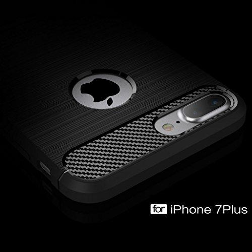 Yeesoon iPhone 7Coque, Ultra léger fin résistant aux chocs anti-rayures en TPU Silicone de luxe brossé robuste Armour Coque de protection pour Apple iPhone 711,9cm, Silicone plastique, gris, iPhone noir foncé