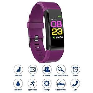115plus Fitness Tracker Pulsera inteligente Pantalla a color Bluetooth Reloj deportivo Monitor de frecuencia cardíaca… 1