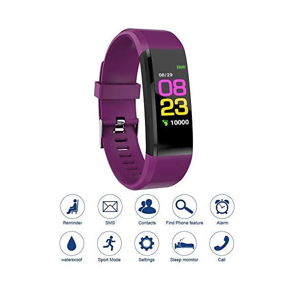 115plus Fitness Tracker Pulsera inteligente Pantalla a color Bluetooth Reloj deportivo Monitor de frecuencia cardíaca / presión arterial Podómetro Paso Contador de calorías Púrpura AC1423. Accesorios 1