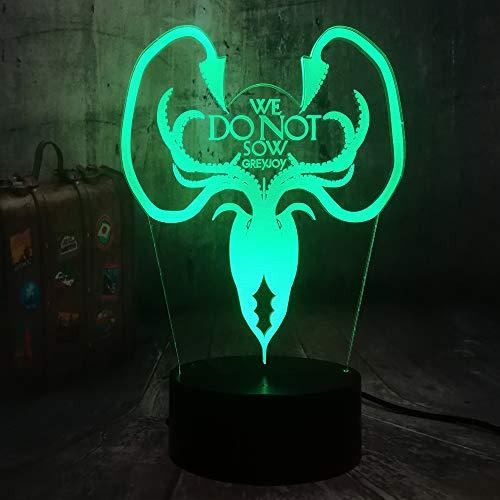 WangZJ Nachtlicht Für Kinder 3d Illusion Nachtlicht / 7 Farbe Licht Für Mädchen Weihnachten/halloween Geburtstagsgeschenk/Ein Lied von Eis und Feuer