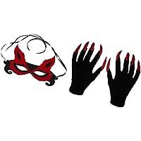 MagiDeal Máscara de Zorro Mujer Ata Fiesta Carnaval Halloween + Guantes de Mujer Asustadiza con Uñas Largas de Color Rojo Brillante