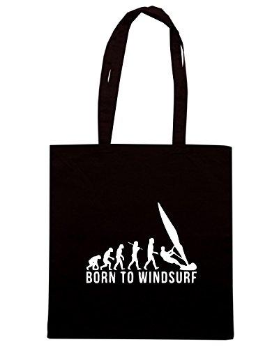 T-Shirtshock - Borsa Shopping EVO0010 Evolution Born To Windsurf Maglietta Nero