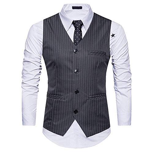 Herren V Ausschnitt Streifen Einreiher Anzugweste Mit 4 Elegant Smoking Wesentlich Weste Business Party Hochzeit (Color : Dunkelgrau, Size : L)