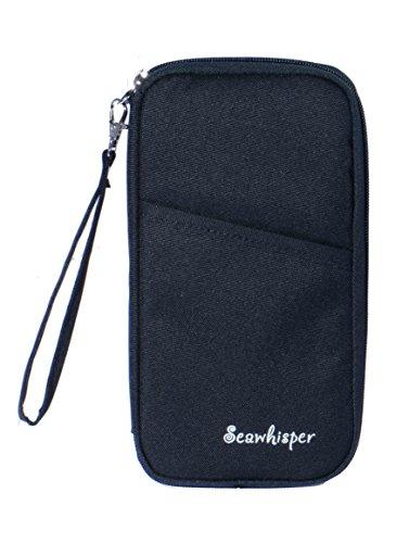 Seawhisper 24 x 14x 3cm Reiseorganizer Dokumententasche Reisepasshüllen Wasserdicht Pass Brieftasche mit Handschlaufe Reißverschluss für Münzen, Stift, Kreditkarten, Flugkarten, Passport