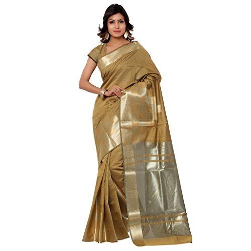 Varkala Silk Sarees Women's Cotton Banarasi Saree With Blouse Piece(DM3102BS_Khaki_Free Size)