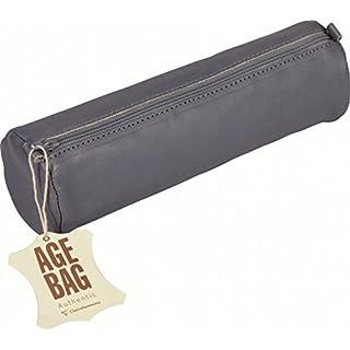 Clairefontaine AGE BAG 77033C Trousse Ronde longueur 21 x 6 cm de diamètre en véritable cuir d'agneau Gris