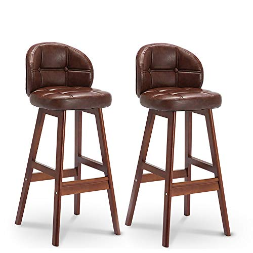 SANSHUI Massivholz Barhocker, Holz Bar Hohe Hocker Modernes Minimalist Frühstück Dining Chair 2 Set 1113 (Color : Brown Leather Art)