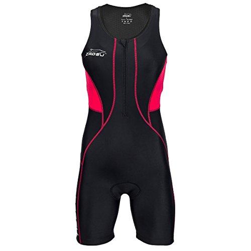 ZAOSU Damen Trisuit Z-Revolution | Triathlonanzug Einteiler für den Wettkampf und das Training, Größe:L, Farbe:schwarz/rot