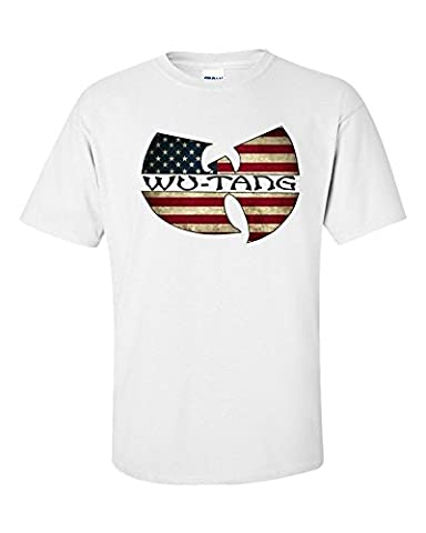 Jacted Up Tees Wu Tang Clan American Flag Men't T-Shirt SHIPS FROM OHIO USA(Large)
