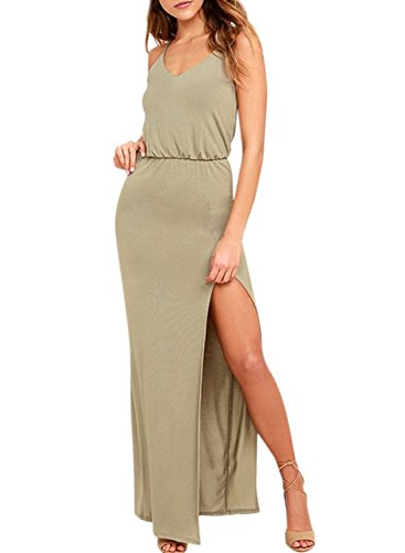Azbro Women's Spaghetti Strap High Slit Solid Prom Dress Olive Green