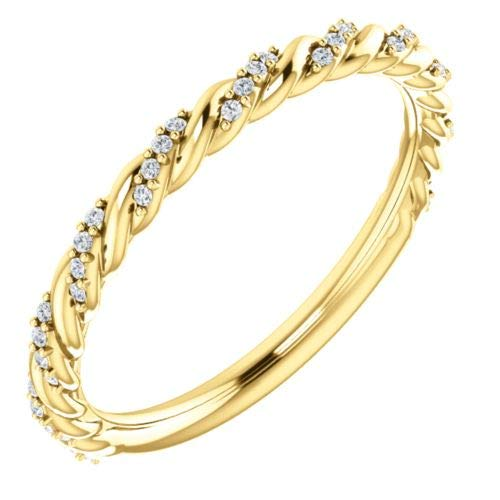 14K Yellow Gold 1/8 ctw Diamond Pave Twisted Anniversary Band Ring - Size 7