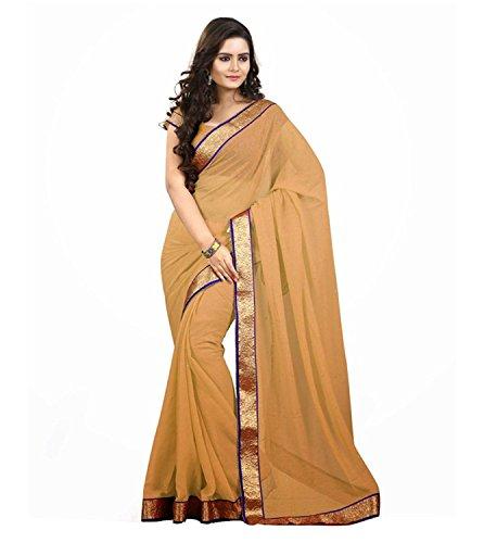 Kjp Villa Women\'s Georgette chiku Free Size embroidery Saree With Blouse Pics (zeel saree-115)