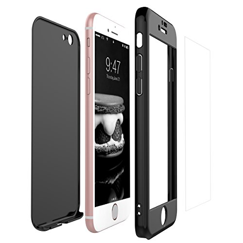 Yokata iPhone 6 Plus/iPhone 6S Plus Hülle + iPhone 6 Plus/iPhone 6S Plus Panzerglas, Hardcase Schutzhülle 2 in 1 Handyhülle Ultra Dünn Slim 360 Grad Full Body Schutz 2 Teilig Styliche Handytasche Clear Elegant Backcover Anti-Rutsch Kratzfest Hart PC Skin Bumper Handy Tasche Schale Etui für Huawei iPhone 6 Plus/iPhone 6S Plus (5,5 Zoll) Case Cover - Klavier Schwarz