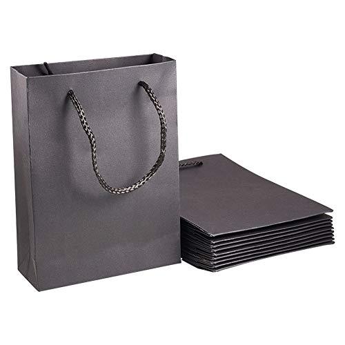 nbeads Geschenktüten aus Kraftpapier mit Nylon-Griffen, Schwarz, 10 Stück, Papier, Schwarz, 20x15x6cm (Halloween-taschen Machen Sie Ihre Eigenen)