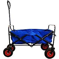 MAXOfit® Bollerwagen in Blau, Robuster, Faltbarer Handwagen mit Luftbereifung