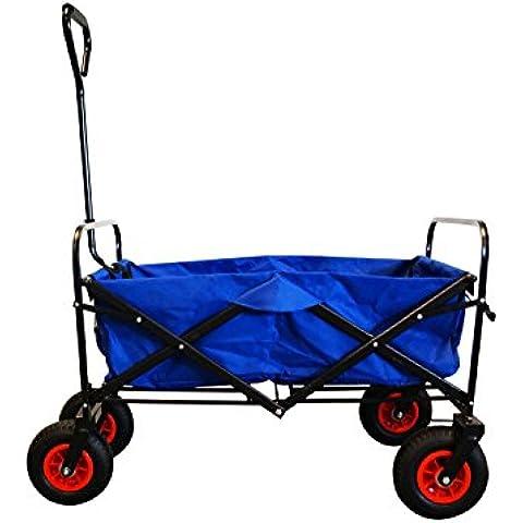 Carro de mano plegable en azul, con neumaáticos robustos incluido funda protectora, 65828