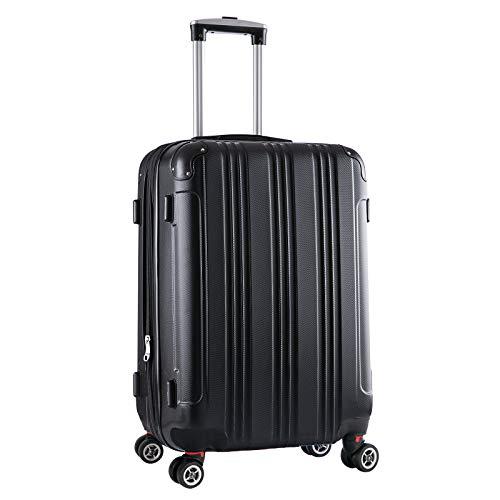 Reise Koffer Gepäck Trolleys Reisekoffer Hartschale 4 Rollen Erweiterbar Hartschalenkoffer ABS Schwarz M -