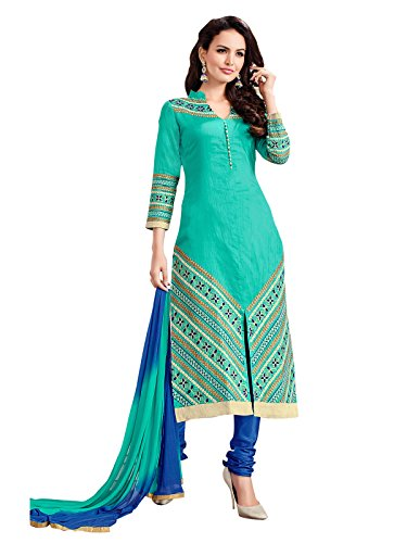 Kanchnar Womens Sea Green Embroidered Unstitched Cotton Party Wear Dress Material With...