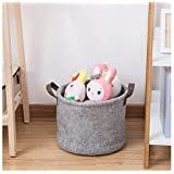 U-HOOME storage Basket Toy Book storage bag Chemical Fiber Felt Laundry Basket Organizer with handles for Home and Office