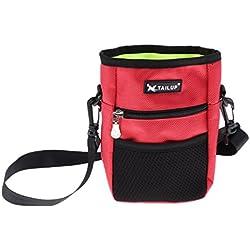 non-brand MagiDeal Futterbeutel Leckerlibeutel Futtertasche Hunde Trainingstasche mit Verstellbarem Schultergurt für Outdoor-Aktivitäten - Rot